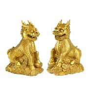 Pair 19and039and039 Brass Bring Fortune Treasure Wealth Beast Dragon Kylin Plutus Pi Xiu