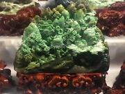 Chinese Dushan Jade Sculpture Hill Tree River Birdge House Two Old Man Boat