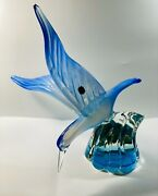 C1940s Barbini For Cenedese Murano Italy Blue Opalescent Seagull Wave Sculpture