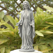Virgin Mary Outdoor Garden Statue Grey Blessed Mother Religious Sculpture Lawn