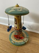 Vintage Tin Wind Up Litho Toy Carousel Boat Ride Unique Art Mfc Co.