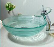 Transparent Tempered Glass Vessel Sink Chrome Polished With Waterfall Faucet New