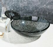 Tempered Glass Vessel Sink Oil Rubbed Bronze Faucet New Hand-painted Wash Basins