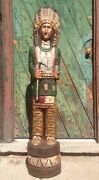 John Gallagher Carved Wooden Cigar Store Indian 6 Ft.tall Statue Tomahawk