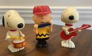 Lot Of 3 Inter-trad-tec Peanuts Band Snoopy Charlie Brown 1966 Wind-up Very Rare
