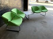 Thonet Tandem Chrome Bench Chairs With Table Green Lot Of 2