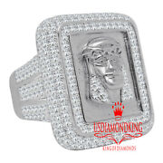 Xl Big White Gold Sterling Silver Holy Jesus Face Frame Diamond Mens Ring Band
