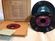 Collectible Vintage Mix Lot Of 7 45rpm Records Rca Victor In Old Album Holder