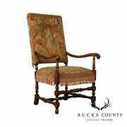 French Louis Xiii Style Antique Walnut Tapestry Needlepoint Armchair