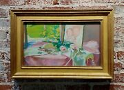 Gerald David Rahm -still Life Of Pink Roses And Photo By The Window - Painting