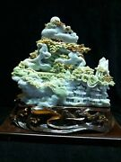 18and039and039 Natural Xiuyan Jade Hand-carved Home Furniture Decorate Landscape Statue
