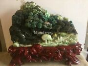 Chinese Dushan Jade Home Decor Hill River Pine House Boat Bridge Four Old Man