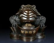 25and039and039 Bronze Copper Home Fengshui Wealth Coin Treasure Beast Jin Chan Toad Statue
