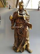 35and039and039 Fine Brass Folk Temple Fengshui Carved Dragon Guan Gong Statue
