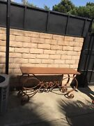 Wrought Iron Table Vintage Indoor /outdoor Hand Made With Copper Penny Top