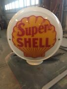 Super Shell Gas Pump Milk Glass Globe One Piece Body With 2 Lenses