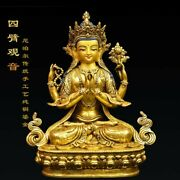 9and039and039 Nepal Tibet Bronze Gold Buddhism Temple Four Arm Guanyin Chenrezik Practice