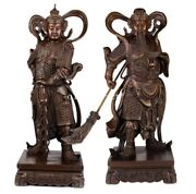 23and039and039 Bronze Sculpture Home Fengshui Decor Carved Dragon Guan Gong And Wei Tuo