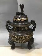 16and039and039pure Bronze Red Copper 24k Gold Auspicious Flower Dragon Foo Dog Lion Censer