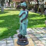 34and039and039 Bronze Sculpture Home Decorate A Women Girl Lady Hold Vase Statue