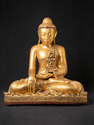 Large Old Wooden Mandalay Buddha From Burma Middle / Late 20th Century