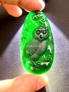 Fashionable High Grade Black Jadeite Jade Handwork Amulet Night Owl Bird Pendant