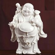 13and039and039 Dehua White Porcelain Limited Edition Ruyi Boy Lucky Wealth Buddha Statue