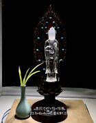 18and039and039 Natural 100 Rock Crystal Quartz Home Feng Shui Kwan-yin Bodhisattva Statue