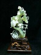 18and039and039 China Xiuyan Jade Hand-carved Beautiful Home Decorate Yulan Magnolia Flower