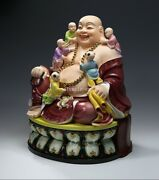 18and039and039 Dehua Porcelain Colored Drawing Auspicious Five Boys Child Maitreya Buddha
