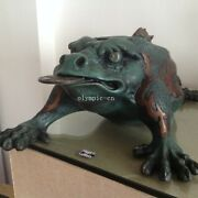 23and039and039 Bronze Sculpture Home Decorate Treasure Jin Chan Golden Toad Spittor Statue