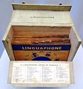Vintage Linguaphone French Course - 45rpm Records In Original Case Collectiblef