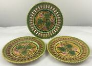 Antique Villeroy And Boch Schramberg Majolica 3 X Berries And Leaves Plates 20cm