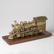 22and039and039 Brass Copper Carvings Steam Engine Locomotive Railway Engine Statue