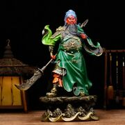 19and039and039bronze Carved Shop Start Business Integrity Fengshui Dragon Guan Gong Statue