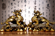Pair 17'' Brass Copper Carvings Home Fengshi Exorcise Evil Spirits Kylin Pixiu