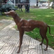 32and039and039 Bronze Sculpture A Beast Animal Greyhound Dog Statue