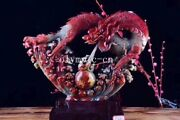 16and039and039 Chinese Wucai Shoushan Stone Handwork Carved Auspicious Beast Dragon Statue