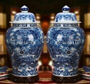 Pair 26and039and039chinese Blue And White Porcelain Handmade Painting Sea Nine Dragon Vase