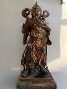 24and039and039 Heavy Bronze Gild Carved Dragon Design Chinese Folk Mars Guan Gong Guan Yu