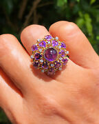 Vintage Amethyst Diamond Dome Ring 9.80 Carats 18k Yellow Gold