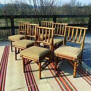 A Fabulous Set Of 6 Vintage Mid Century Tiki Style Bamboo Dining Chairs 1960's