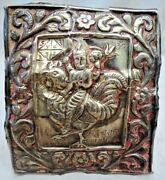 Antique Silver Plate Depicting Indian Goddess Rooster Ride Cock Hindu Theology1