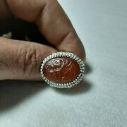 Antique Yemeni Ring Handmade Crave Sterling Silver With Agate Stone عقيق يمني