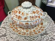 Mottahedeh Sacred Bird And Butterfly Oval Tureen And Stand