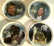 Sale 4 Handmade Decal/baked Indian Collectible Plates-perfect Condition