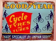 Vintage Good Year Cycle Tire Sign Advertise Porcelain Enamel Rare Collectibles