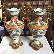 Capodimonte Italy Set Of 2 Porcelain Gold Plated Antique Vases