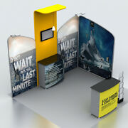 10ft Waveline Media Trade Shows Displays Booth With Spotlights Counter 1