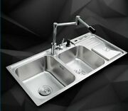 Kitchen Double Bowl Sinks Modern Polished Faucet Washing Dishes Home Improvement